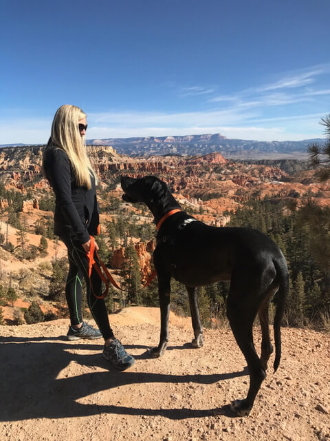 Jenna Powell and her dog Bentley at Bryce Canyon